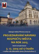 Pozvánka projednávání rozpočtu 2015