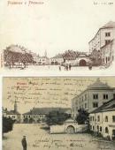 Horní náměstí v roce 1900 (horní obrázek) a v  první čtvrtině 20. století (dole)