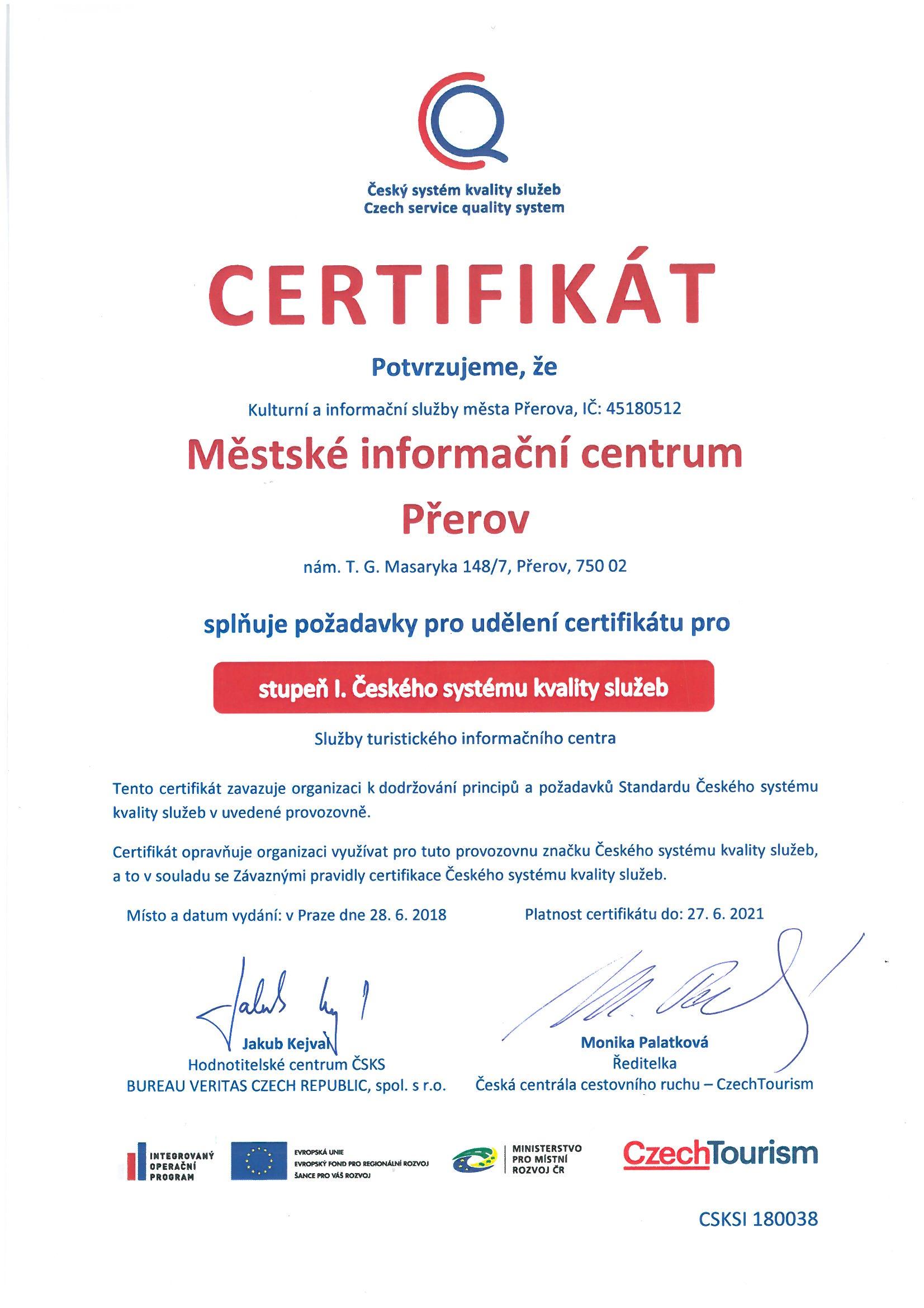 certifikát ČSKS, obrázek se otevře v novém okně