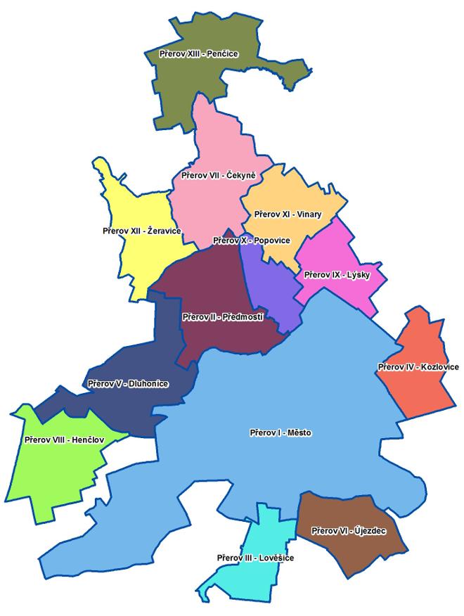 mapa casti mesta