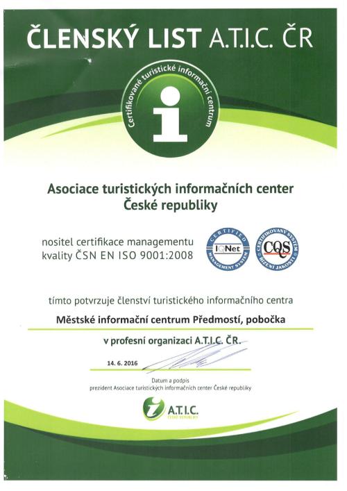 členský list Atic    MIC Předmostí, obrázek se otevře v novém okně