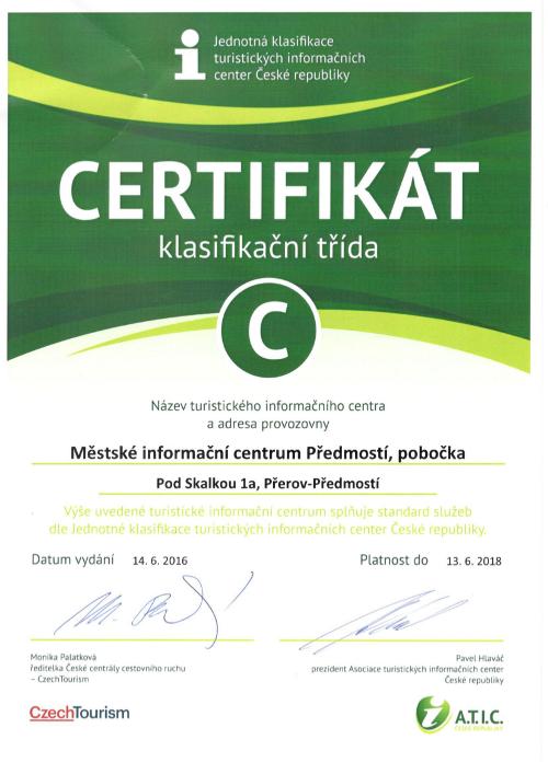 certifikát Předmostí 2016 2018, obrázek se otevře v novém okně