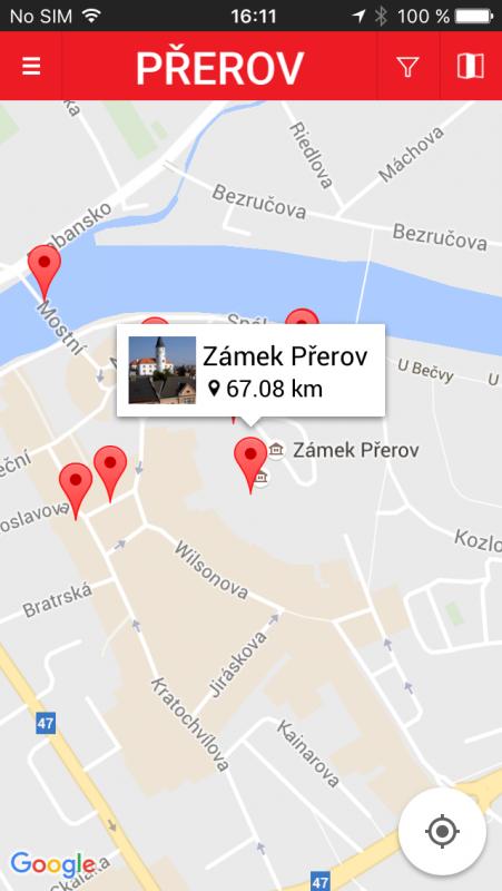 Mobilní turistický průvodce městem Přerovem - mapa, obrázek se otevře v novém okně