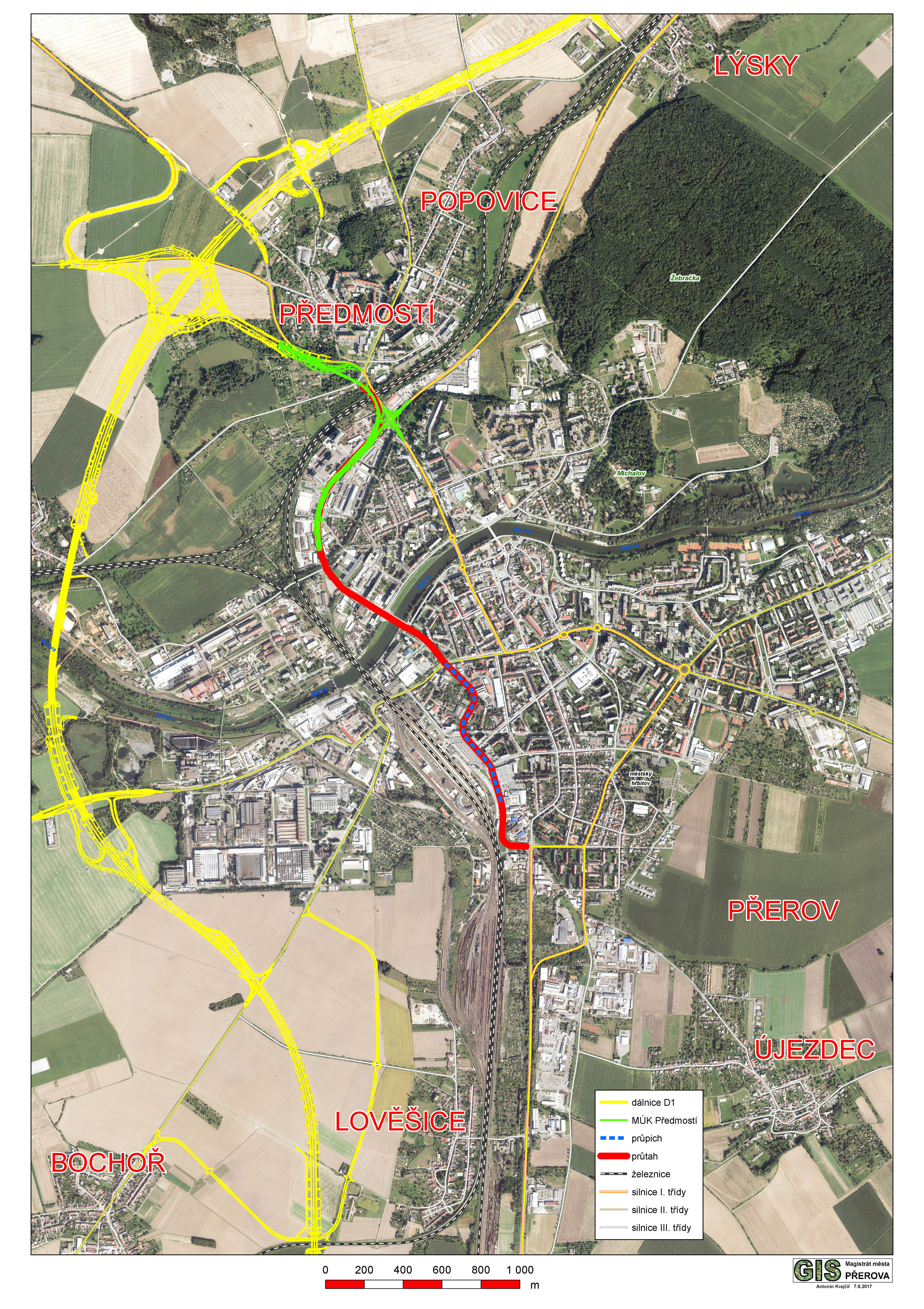 Dálnice, průtah a průpich na mapě