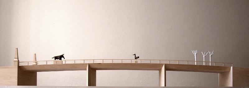 Model mostu - boční pohled, obrázek se otevře v novém okně