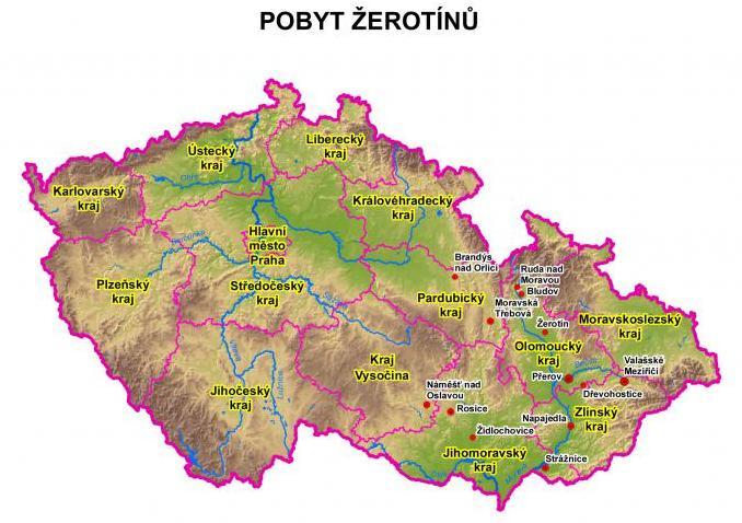 Pobyt Žerotínů v ČR - mapa