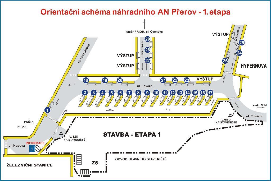 Orientační schéma náhradního autobusového nádraží, obrázek se otevře v novém okně