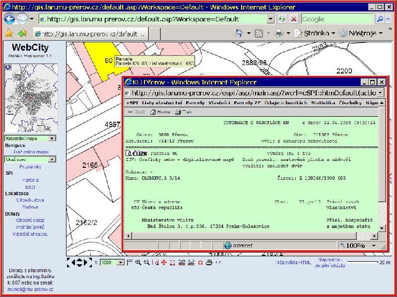 Katastrální mapa, obrázek se otevře v novém okně